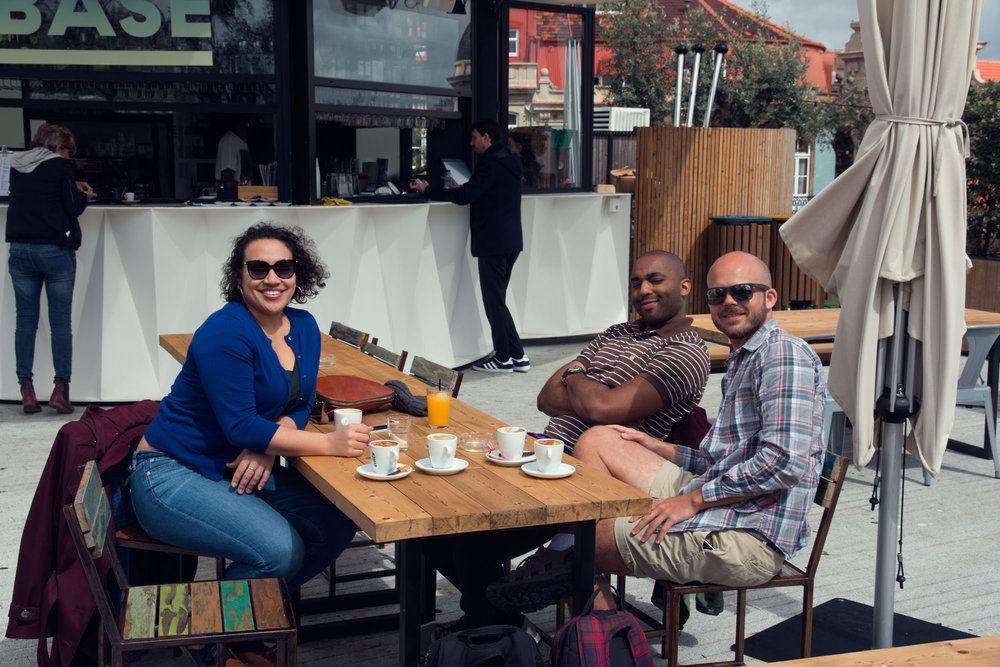 Catching up with our friends Christina and Glen over coffee who came to explore Porto with us.