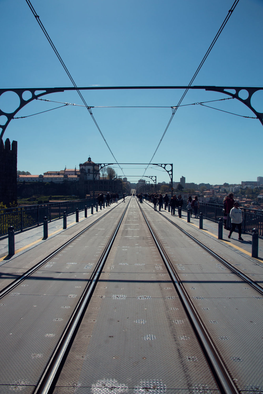 The tramlines on Dom Luis I bridge.