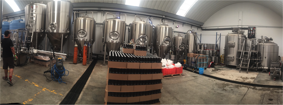 La Chingonería's brewery, comprised of equipment owned and shared by various breweries operating under the same roof.