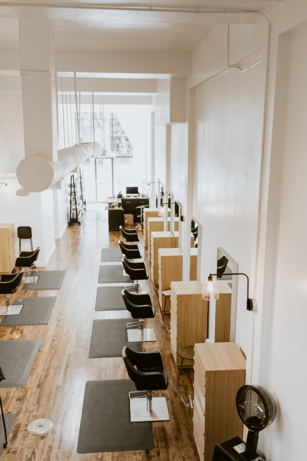 Top-view Interior of Collective Hair Salon