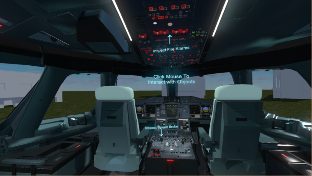 AIRPLANE MAINTENANCE  Navigate an entire aircraft in virtual reality, performing various maintenance tasks.