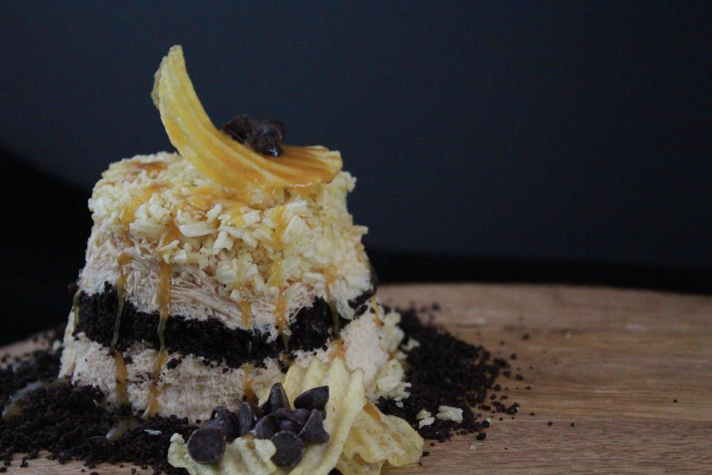 Peanut Butter Snow with Oreos, potato chips, chocolate chips, and sea salt caramel.