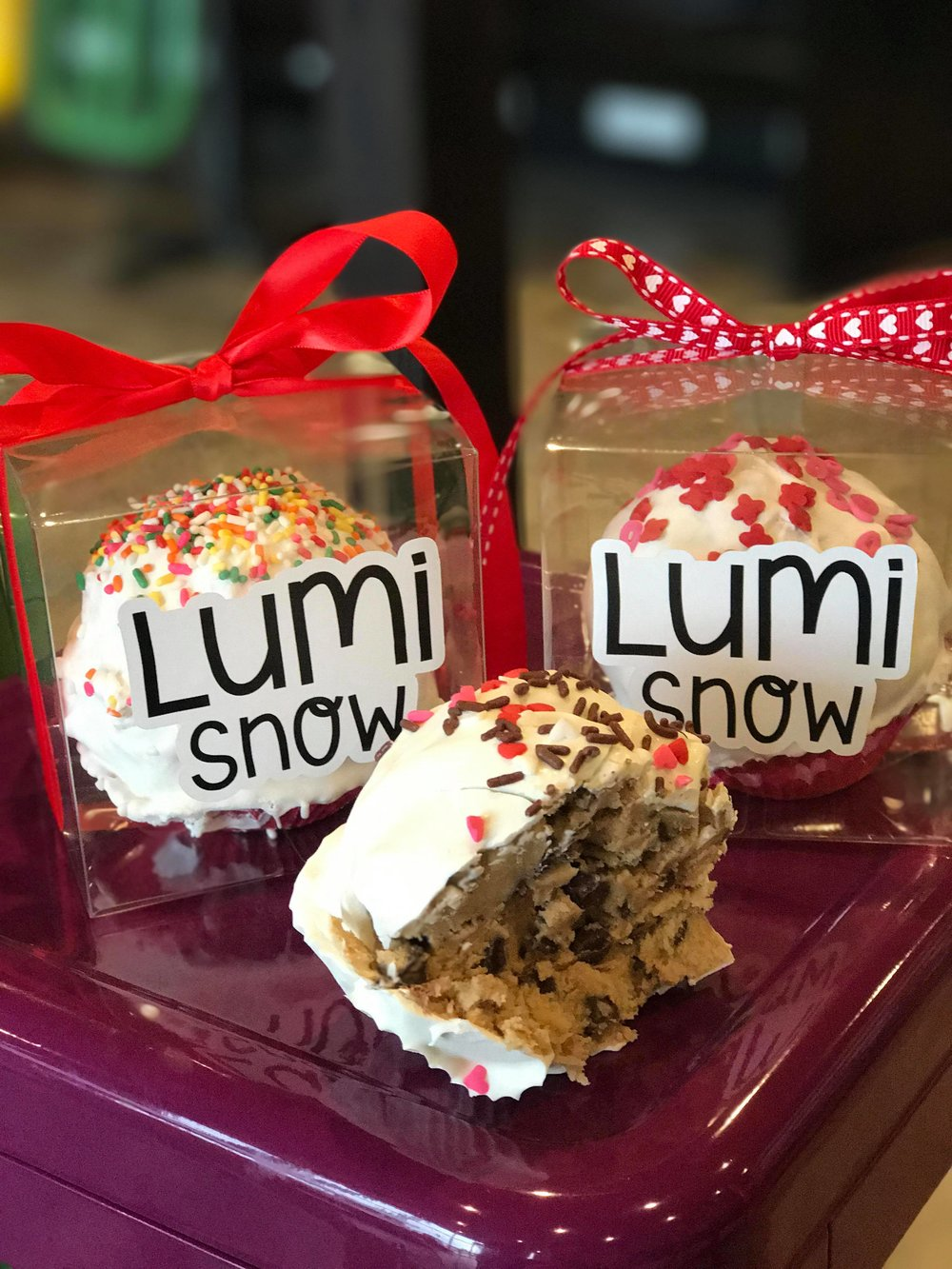 DOUGH BOMBS - Reserve yours for pick up now at either our North Richland Hills store or the Basswood/Beach store!Pickup will be available starting 2/13.$8 each or 5/$35 (online special only)Available in Classic Chocolate Chip only