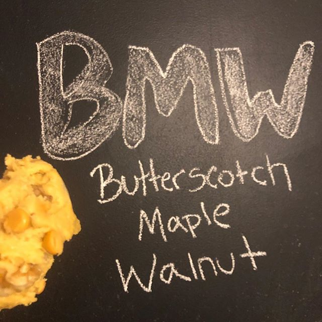 """🚨New FLAVOR alert! 🚨 (And yes we know it's """"fall-ish"""" but our allergies are fighting this spring! 😂) BMW- Butterscotch, Maple, Walnut and ohhh it's so dreamy. Available in both stores and for shipping nationwide on at @thecookiedoughstore"""