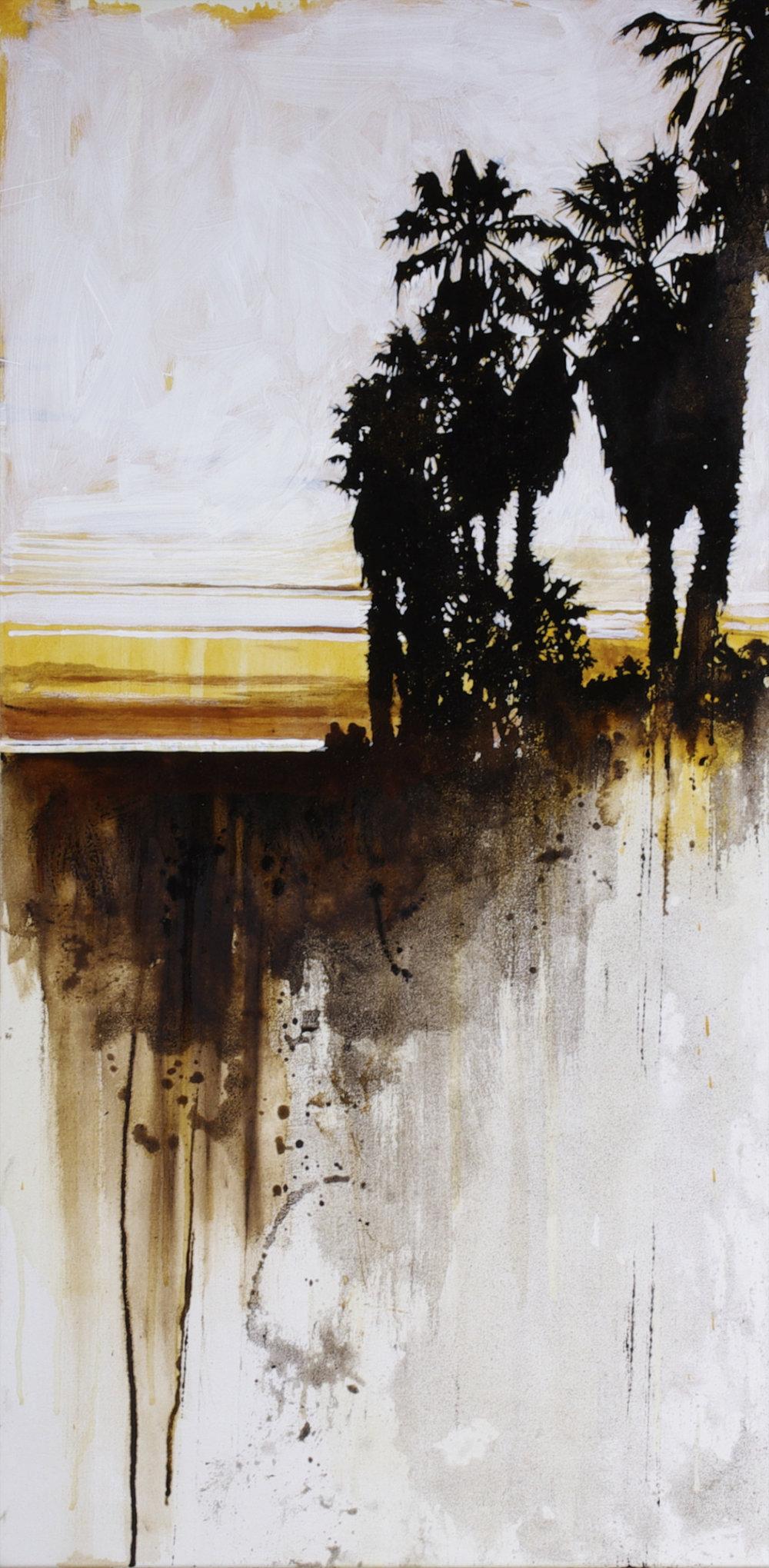 """Horizonline #7 © Karen Kitchel 2016; 40""""x20"""";asphalt emulsion, tar, oil, wax, acrylic, shellac/polyester"""