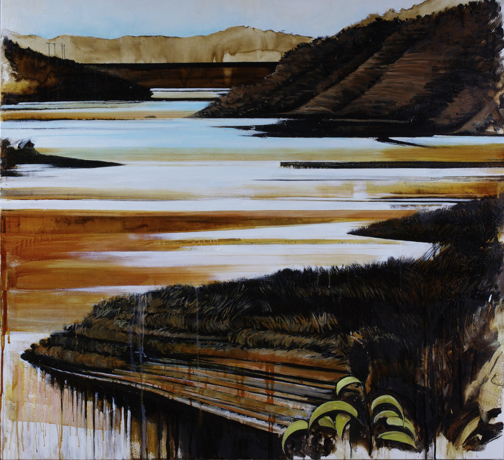 "Waterway #8 (Lake Casitas); Karen Kitchel©2018, 50""x50"", asphalt emulsion, oil, wax, powdered mineral pigments, shellac/canvas"