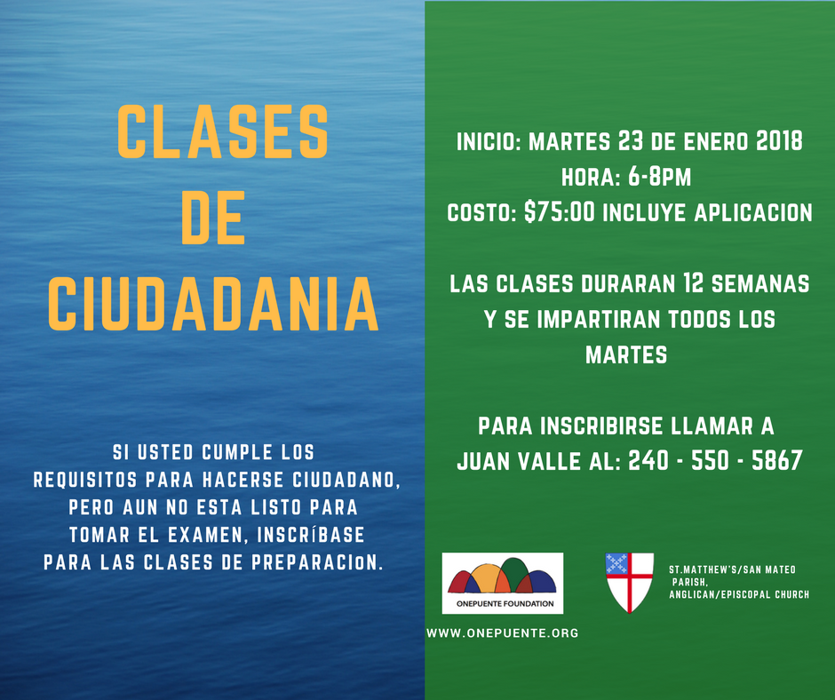 Clases de Ciudadania Inicio 23 de enero 2018 / Citizenship Classes begin January 23, 2018