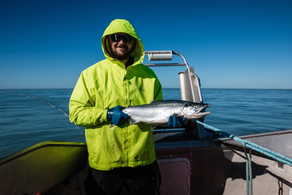 Captain John Wiese with a fresh Copper River Sockeye