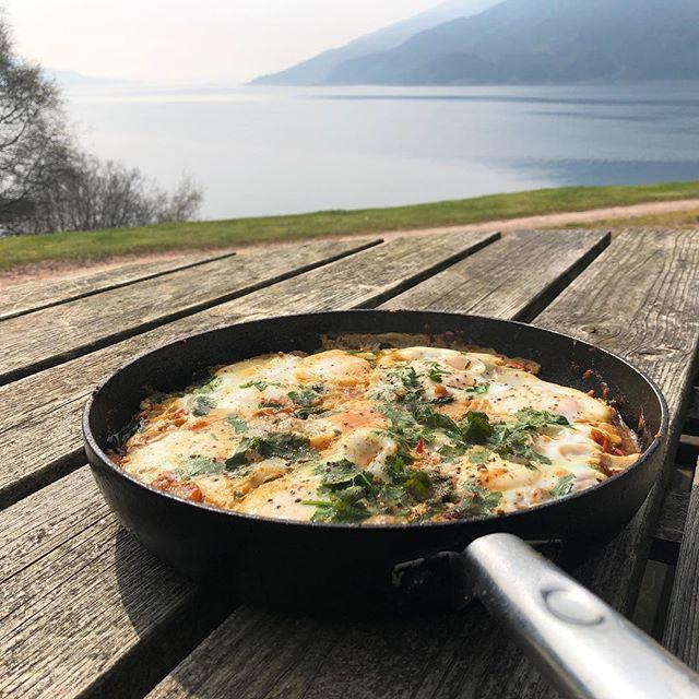 Shakshuka with a view in beautiful Glen Striven made by @jsphsmth . . . #eeeats #eeeeeats #instafood #homecooking #deliciousfood #homemade #shakshuka #healthyfood #healthybreakfast #breakfast #eggs #scotland #westhighlands #lochstriven