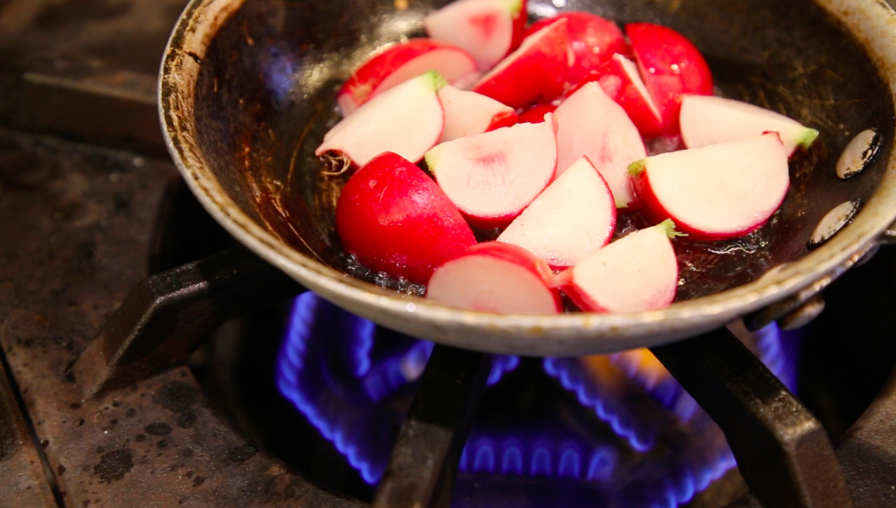 Sautéing radishes is a wonderful way to tame their bitter flavor. Photo by Colette Krey.