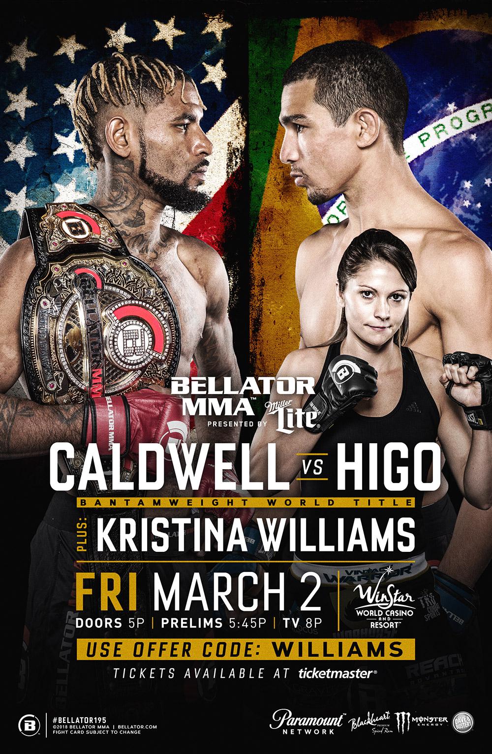 BELLATOR MMA 195   -MAR 2, 2018    WINSTAR, OK