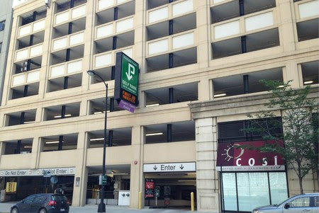 Photo of Self Park garage from Franklin entrance