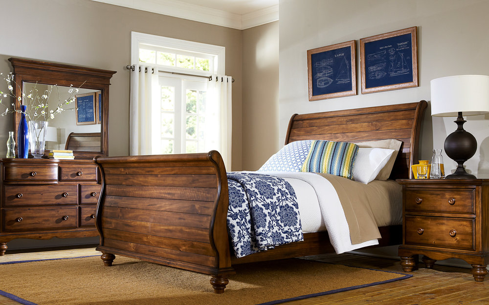 Wood Sleigh Bed | iFurnish, Frisco, CO