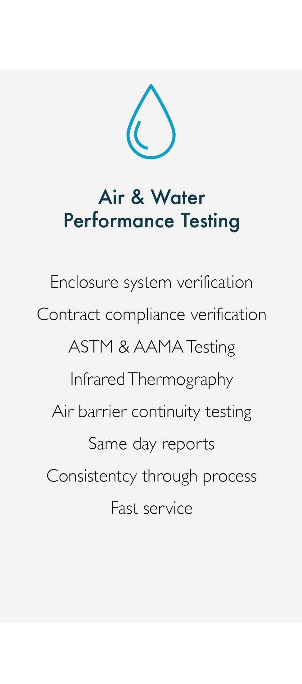 air and water performance testing