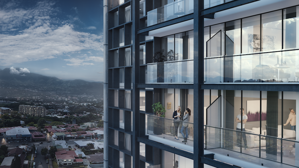 Cosmopolitan Tower - Luxury, comfort and safety have arrived to Rohrmoser, in San José, Costa Rica. Located 300 meters south of Oscar Arias's house, Nobel Peace Winner and ex-president of Costa Rica; Cosmopolitan Tower will be a tower of apartments of 23 levels and 126 apartments with an elegant and modern design.