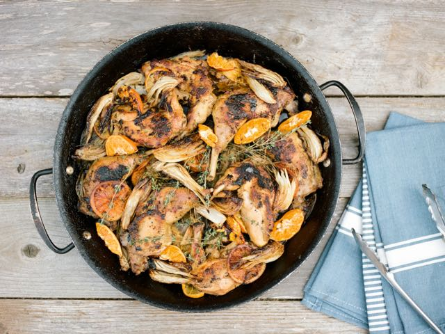 Olive oil braised poussin chicken with citrus, fennel and turmeric