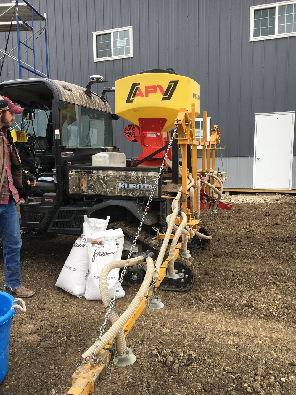 Trenton Carley of FullThrottle Ag Service air seeded the entire acreage of the native prairie restoration.  The air flow seeding systems provides an even distribution of coverage for the very tiny seeds.