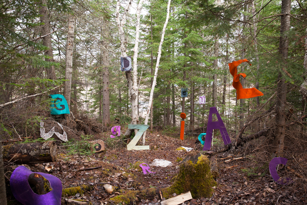 "SCATTERED LANGUAGE -     ""The scrambled ballad, about my word.""    Organic and non-organic materials used to display both Ojibwe and English language scattered in the natural landscape.   Element: Wind"