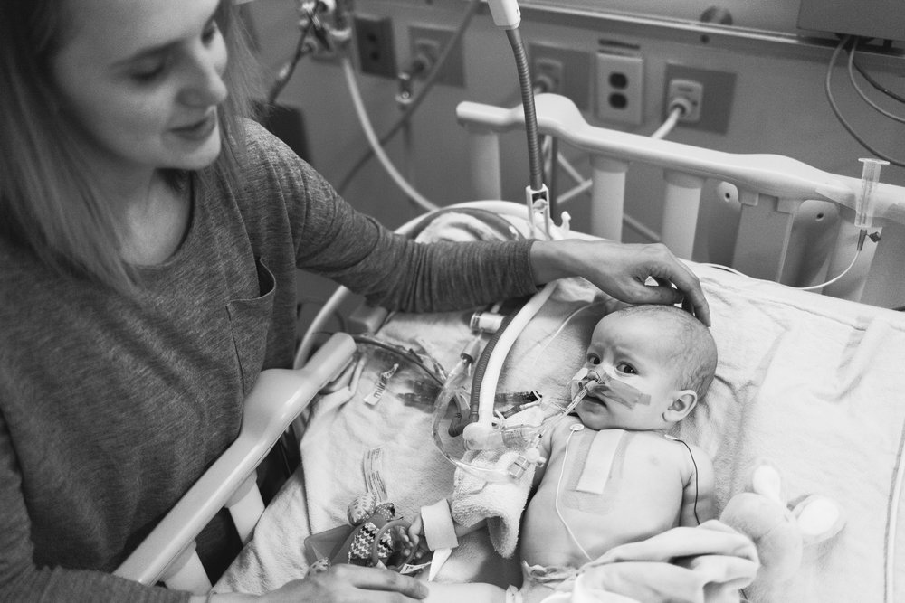Stella and her mom Elizabeth at Sick Kids during her 2.5 month stay.