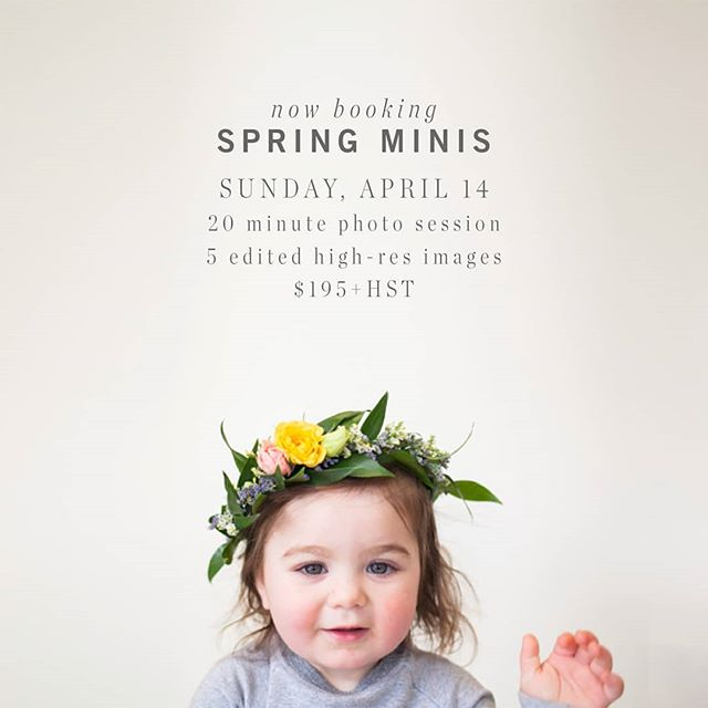 "What's cuter than a kid wearing a flower crown?⁣ -⁣ YOUR kid wearing a flower crown.⁣ -⁣ Booking SPRING MINI PHOTO SESSIONS for Sunday, April 14. Choose from a selection of flower crowns and boutonnieres for your little ones. These mini sessions will be indoors with a spring inspired floral set up overloaded with sweetness.⁣ -⁣ Mini Photo Session Includes:⁣ 20 minute photo session / 5 edited high-res digital files (option to purchase additional images) / Online private gallery / In Studio / $195+hst⁣ -⁣ To book your session check the link in my profile ""Spring Mini Sessions"" (then click on April 14 in the calendar) or DM me here. ⁣🌻⁣ -⁣ #springiscoming"