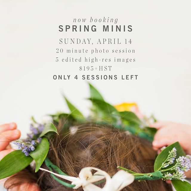"Spring Minis are HERE!⁣ -⁣ But there are only 4 sessions remaining. Don't miss out on an adorable change to have your adorable little ones photographed with adorable flower crowns and boutonnieres.⁣ -⁣ Did I say adorable enough?⁣ -⁣ SPRING MINI PHOTO SESSIONS for Sunday, April 14. These mini sessions will be indoors with a spring inspired floral set up overloaded with sweetness.⁣ -⁣ Mini Photo Session Includes:⁣ 20 minute photo session / 5 edited high-res digital files (option to purchase additional images) / Online private gallery / In Studio / $195+hst⁣ -⁣ To book your session check the link in my profile ""Spring Mini Sessions"" (then click on April 14 in the calendar) or DM me here. ⁣🌻⁣ -⁣ #jenallisonphotography"