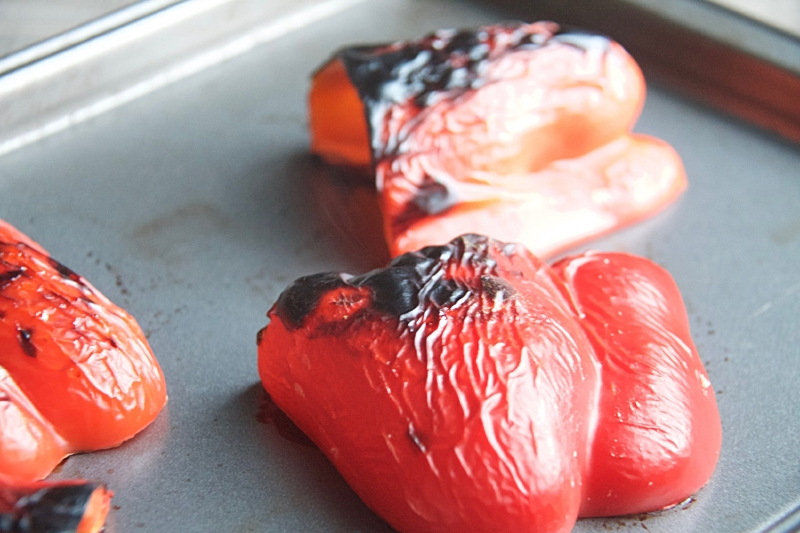 When the bell peppers have been charred, this is what their skin will look like!