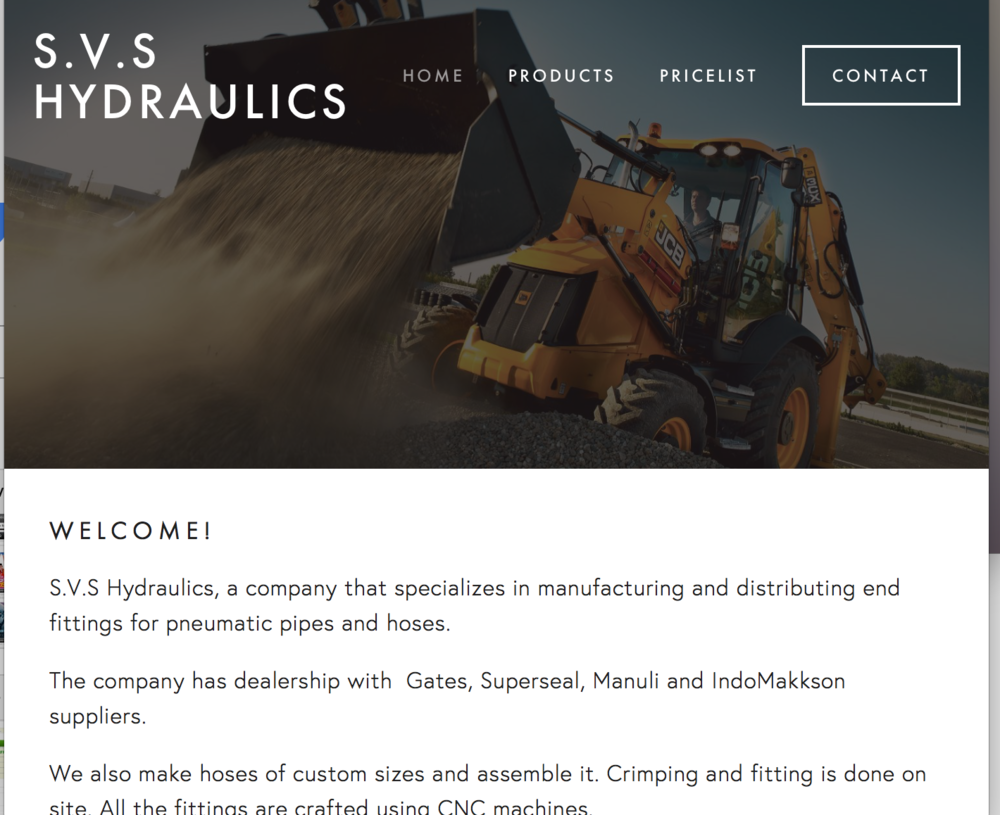 SVS Hydraulics E-commerce website (PHP)