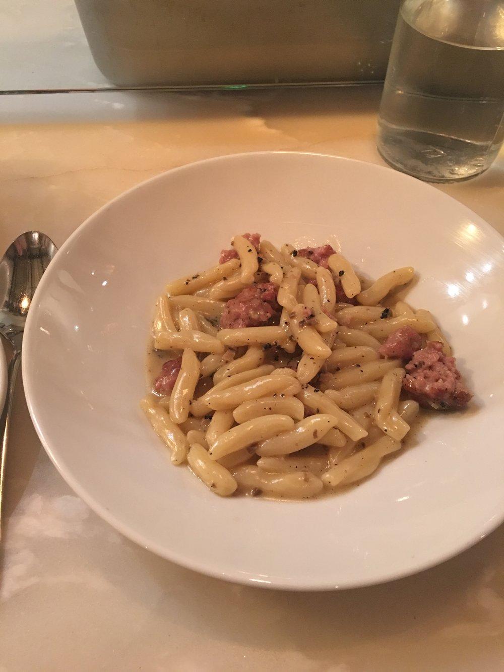 Tagliatelle al Sugo Di Maiale. pork ragu. housemade speck. cabbage. caraway seeds.