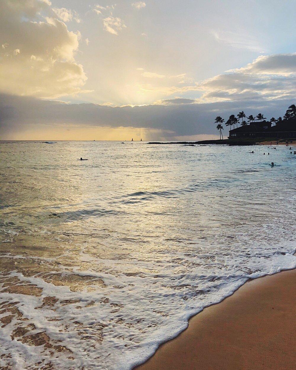 Poipu Beach - Catch the sunset at the south side of Kauai.