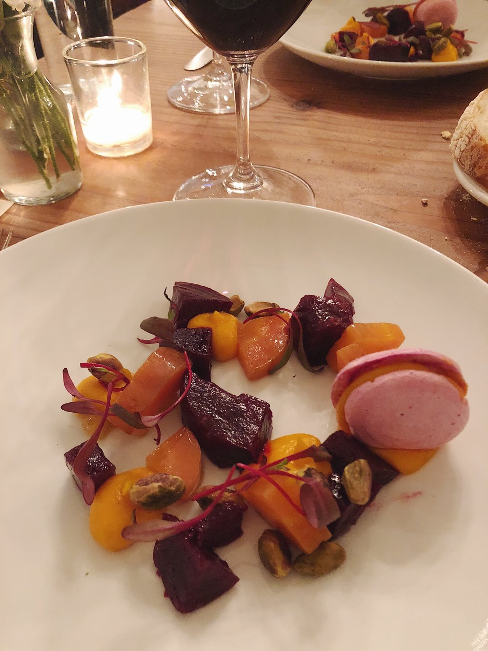 second course - Beet and Carrot Salad with Beet Meringue and Pistachois