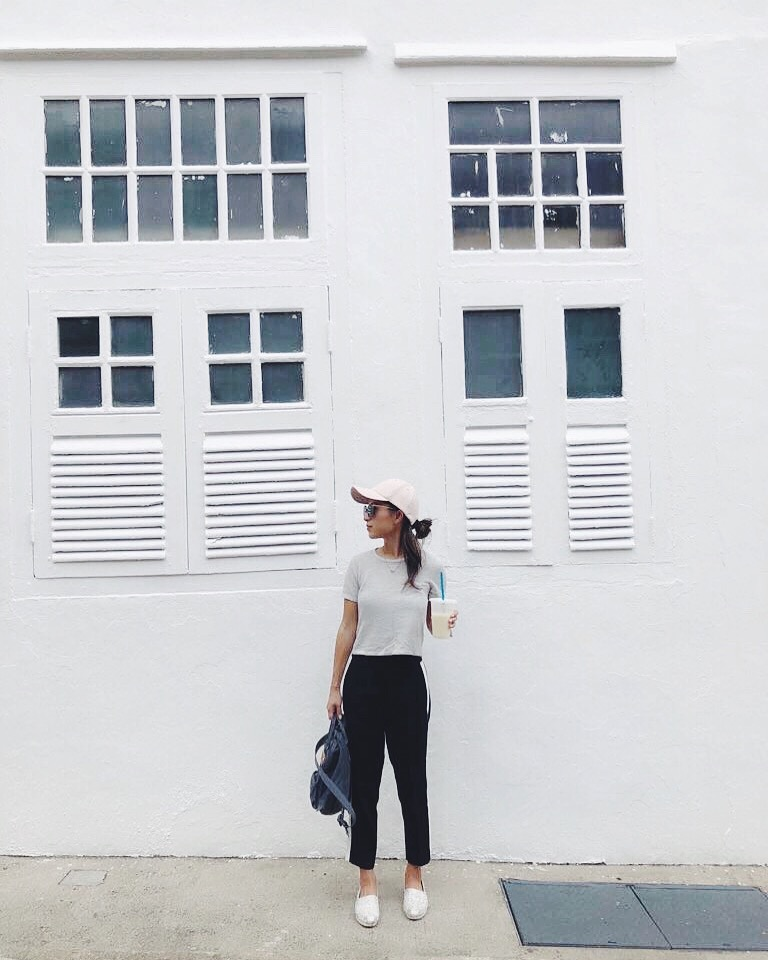 Location: Singapore | Wearing: Aritzia The Constant top & baseball cap, Aritzia Babaton trousers, Toms shoes,  Fjällräven backpack, Celine sunnies