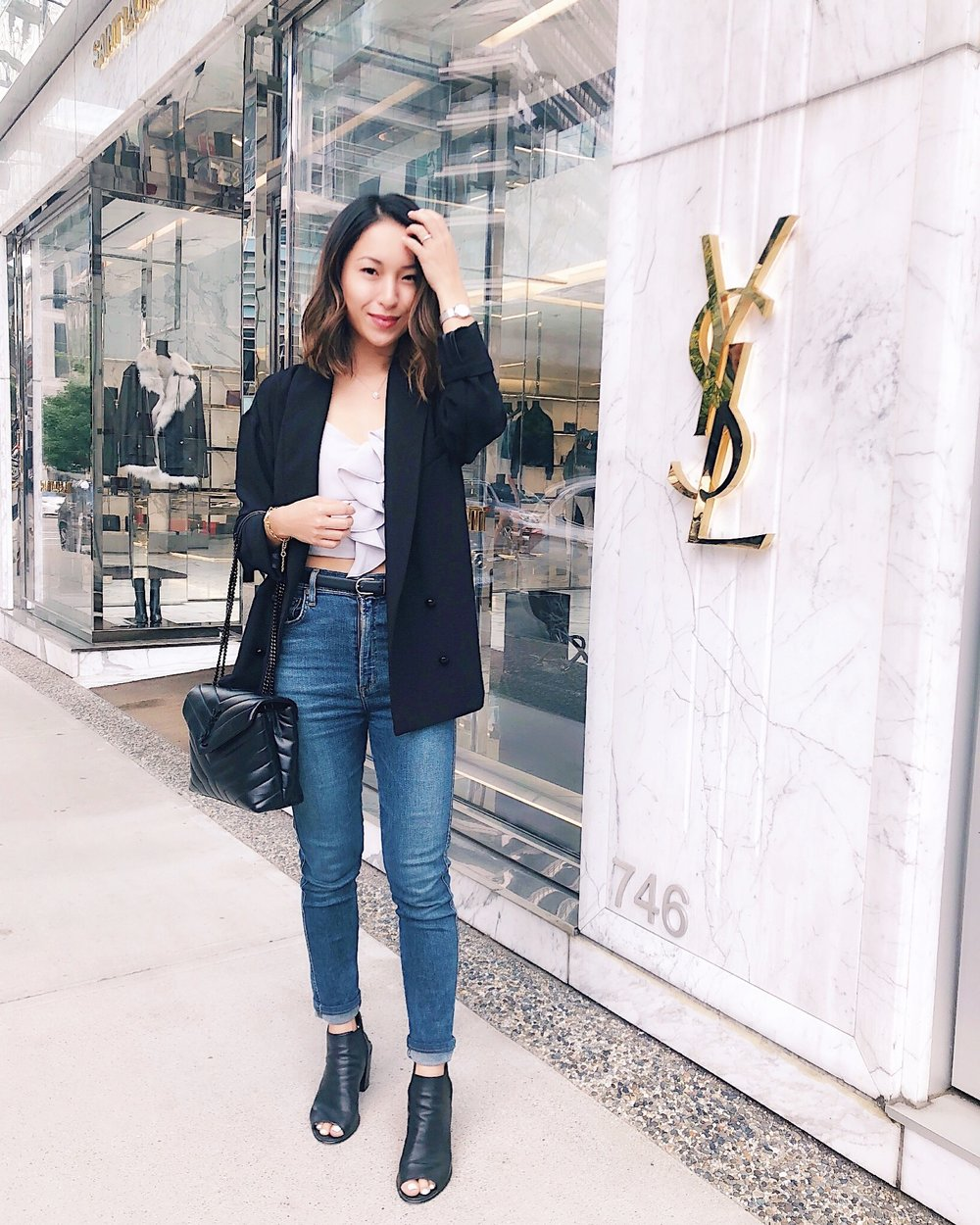 chic in the city - Blazer:Sessùn Jeans: AgoldeBag: Saint LaurentShoes: Steve Madden