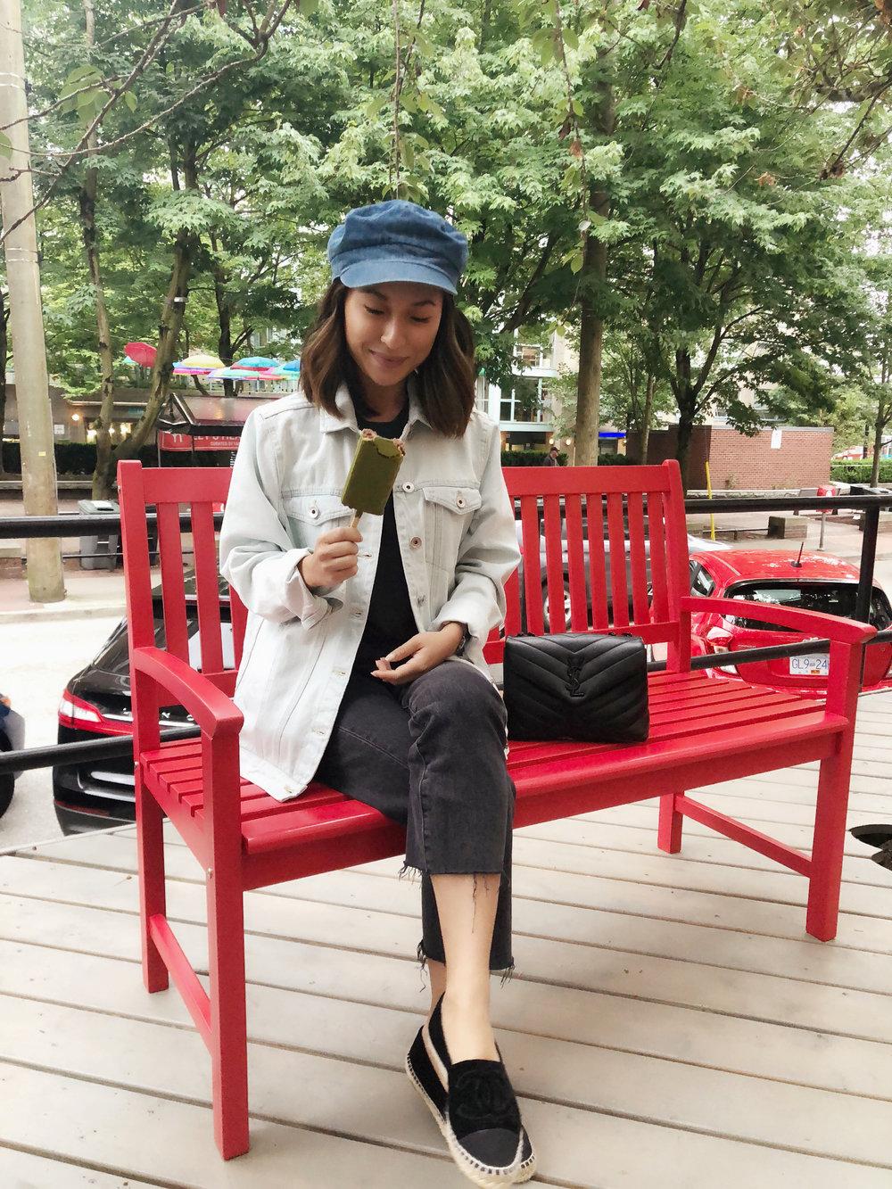 denim on denim - Hat: TopshopJacket: Frank & OakJeans: Levi'sShoes: ChanelBag: Saint Laurent
