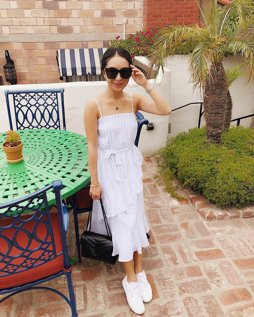 resort style - Dress: ArtemesiaBag: Saint LaurentShoes: Reebok Classics