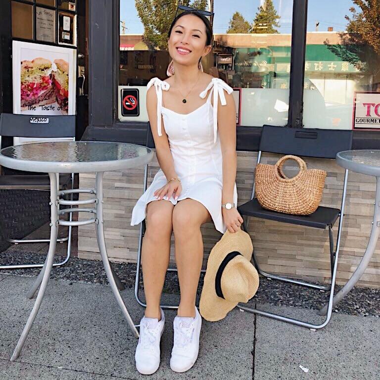 little white dress - Dress: Forever 21Hat: J. CrewShoes: Reebok Classics