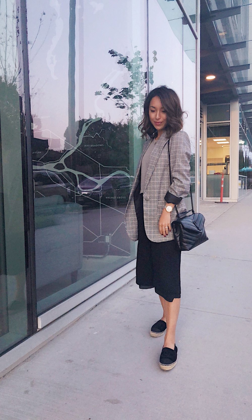 Workday style wearing Vera Moda menswear inspired blazer, Aritizia pants, Chanel espadrilles and YSL bag.