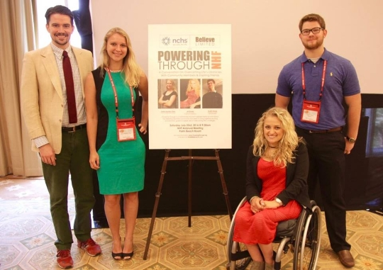 Participants in Powering Through NHF 2016 (from l-r, Patrick James Lynch, Greta Hayden-Pless, Ali Stroker, and Austin Hanse).