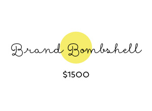 Brand Bombshell...the complete package Includes everything in the Brand Booster, plus: – Squarespace website visual design customization (template selection, colors, fonts, logo & image optimizing, 1 banner graphic) – Training session on how to use the Squarespace interface and add your own content & graphics