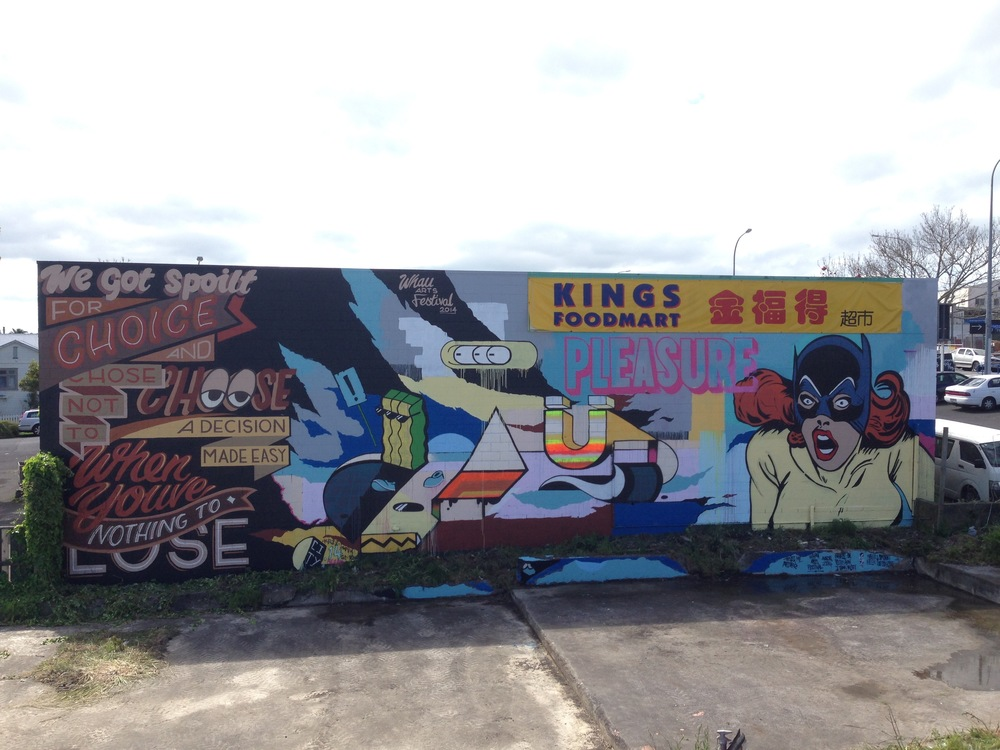 Whole wall Avondale Auckland 2015 Painted as cut collective wall + city
