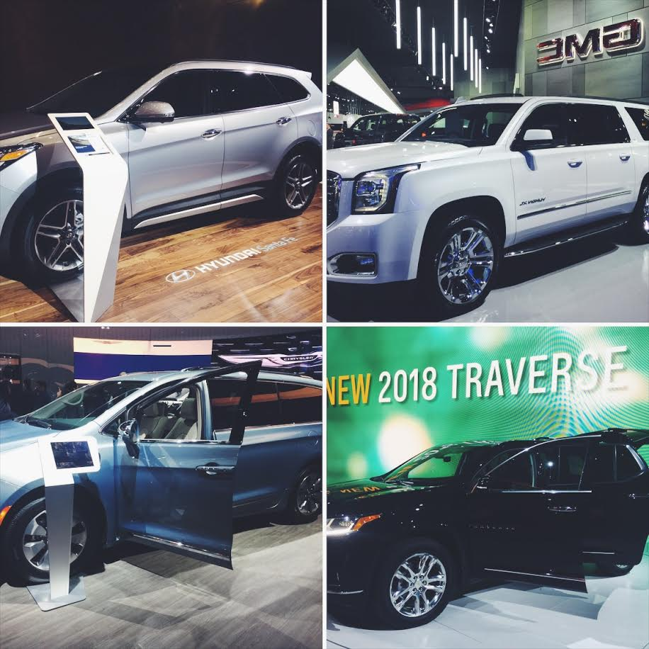 Top Left Clockwise: Hyundai Santa Fe, GMC Yukon XL, Chrysler Pacifica, and the Chevy Traverse