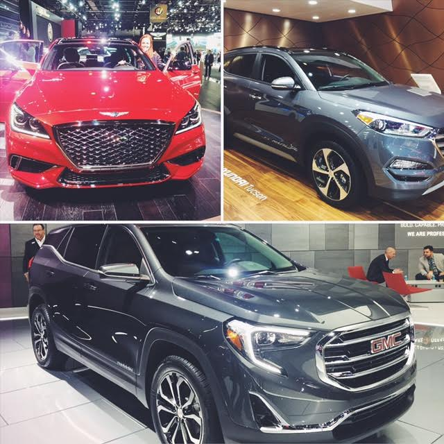 Top Left Clockwise: Hyundai Genesis G80, Hyundai Tucson, and GMC Terrain
