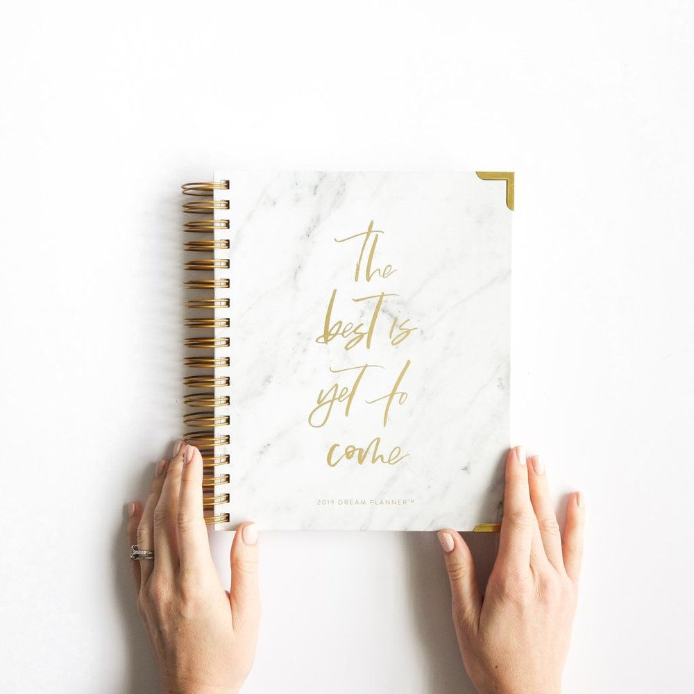 - 2019 Dream Planner - White Marble-Horacio Printing-(10% of each purchase goes to A21 - organization fighting human trafficking)