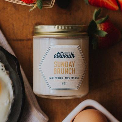 "- ""Sunday Brunch"" 8 oz candle-Eleventh Candle Co.-(portion of proceeds go towards ending human trafficking)DISCOUNT CODE: GILDEDWIFE"