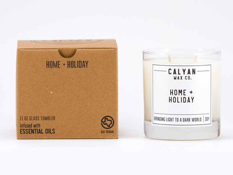 "- ""Home + Holiday"" Glass Tumbler Candle - 11 oz.-Caylan Wax Co.-(portion of proceeds will fund strategic anti-human trafficking operations in America)DISCOUNT CODE: THEGILDEDWIFE"