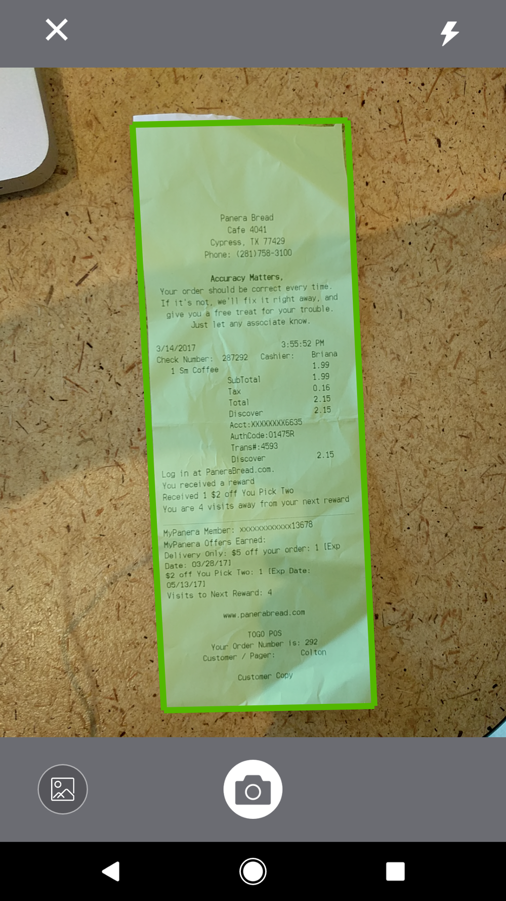 Simply take a picture of your receipt from the QuickBooks app!
