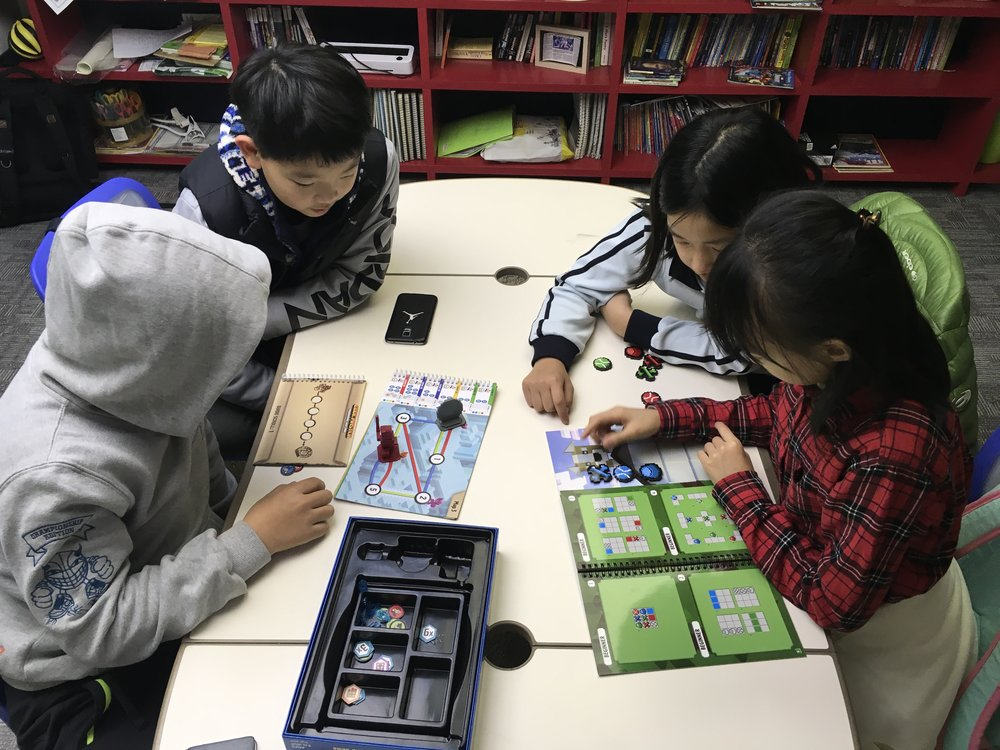 My fourth grade students playing Code Master and Clue Master from ThinkFun.