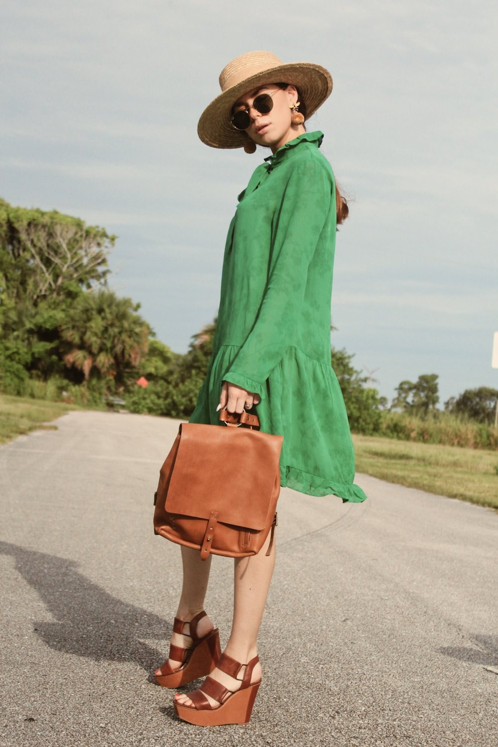 Embrazio- Small Leather Backpack: Cognac    Dress:    & Other Stories    ; Hat: Wyeth ; Shoes:    Steve Madden