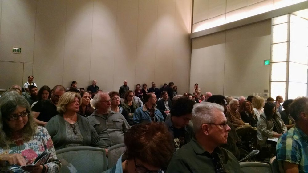 The audience was fully packed — standing room only as we gathered to discuss the legacy of  Frankenstein!
