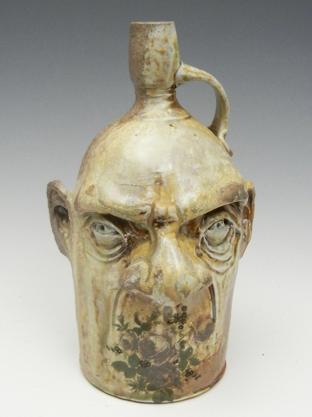 Lorenz Pottery, handmade, ceramics, pottery, folk pottery, wood fired, soda fired, jug, face jug, ugly jug