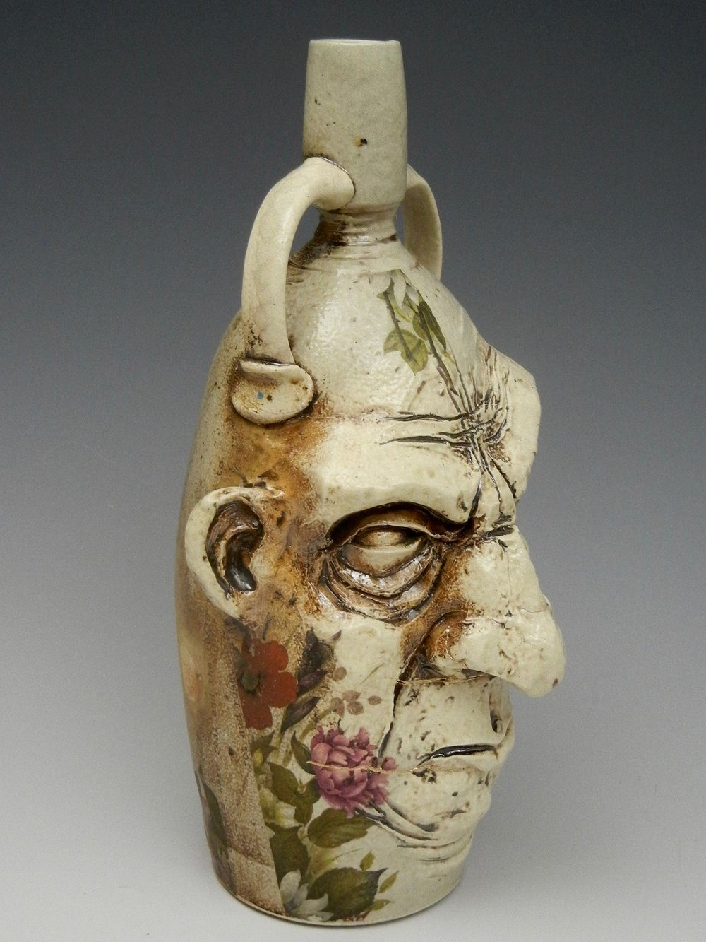 Lorenz Pottery, handmade, ceramics, pottery, folk pottery, wood fired, soda fired, jug, face jug, bottle, ugly jug